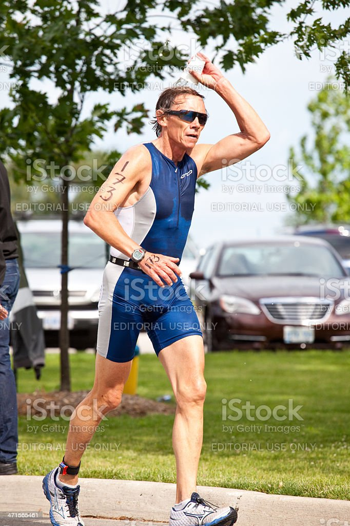Triathlete Cooling Off stock photo