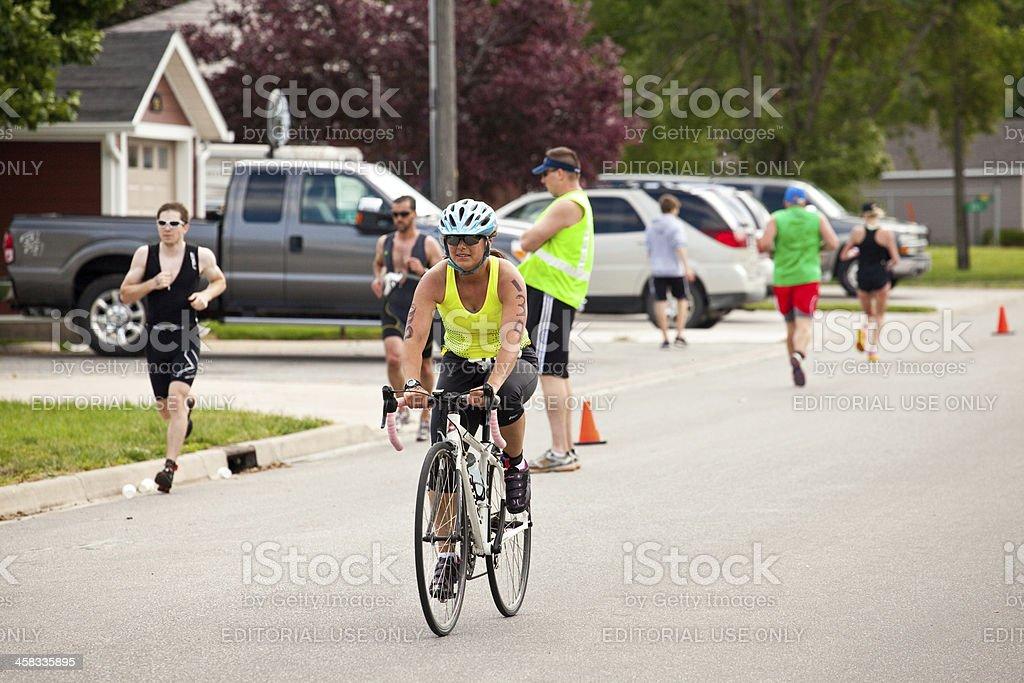 Triathlete Cycling stock photo