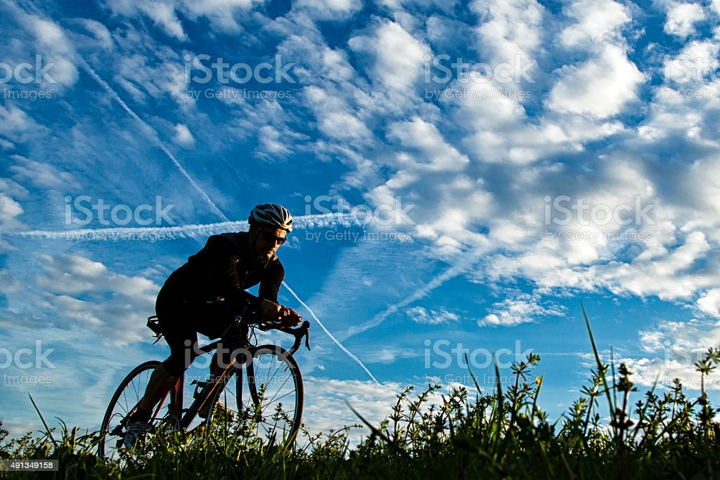 triathlete in cacling stock photo