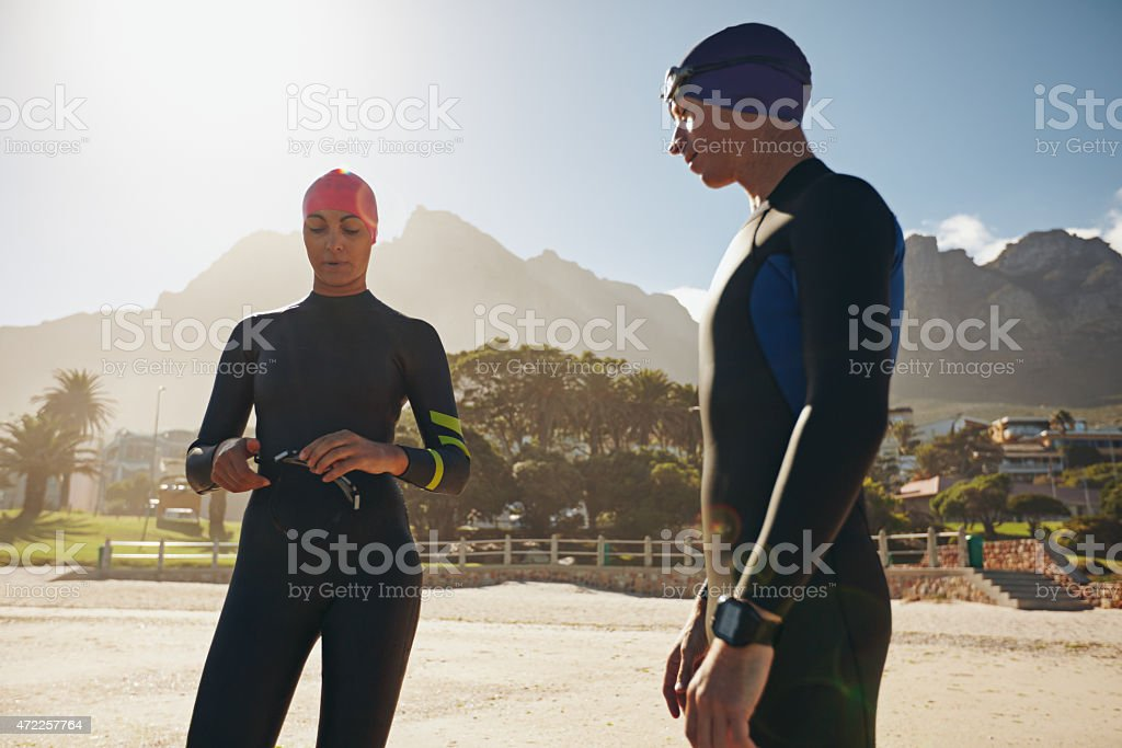 Triathletes preparing for the race stock photo