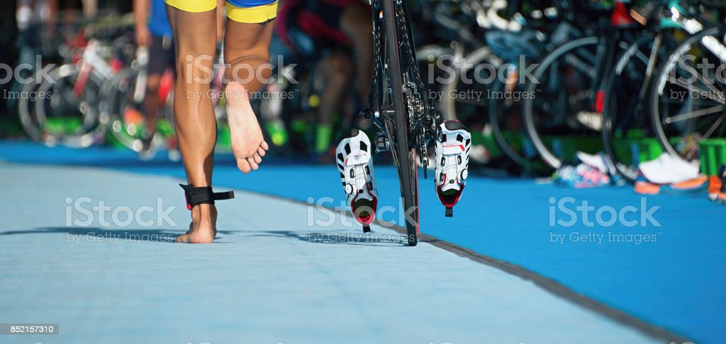 Triathlon bike the transition zone stock photo
