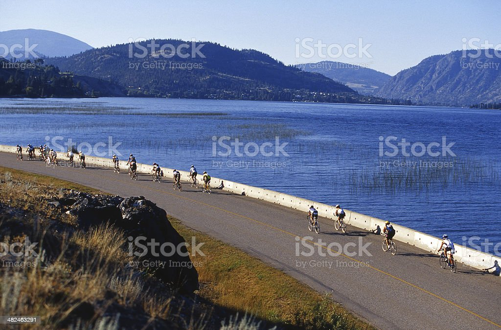 Triathlon Cyclists stock photo