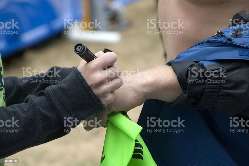 Triathlon hand mark royalty-free stock photo