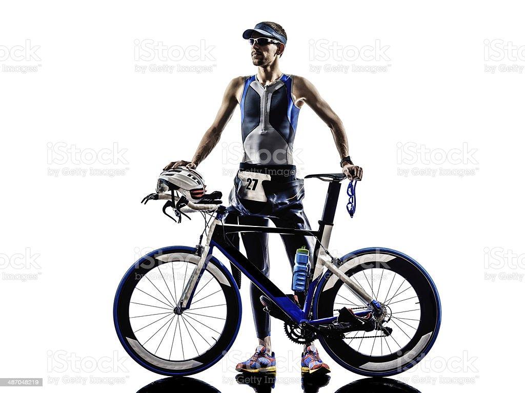 triathlon iron man athlete equipment stock photo