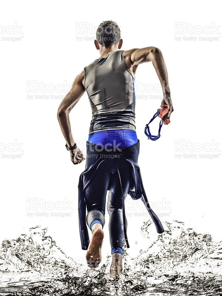 triathlon iron man athlete swimmers running stock photo