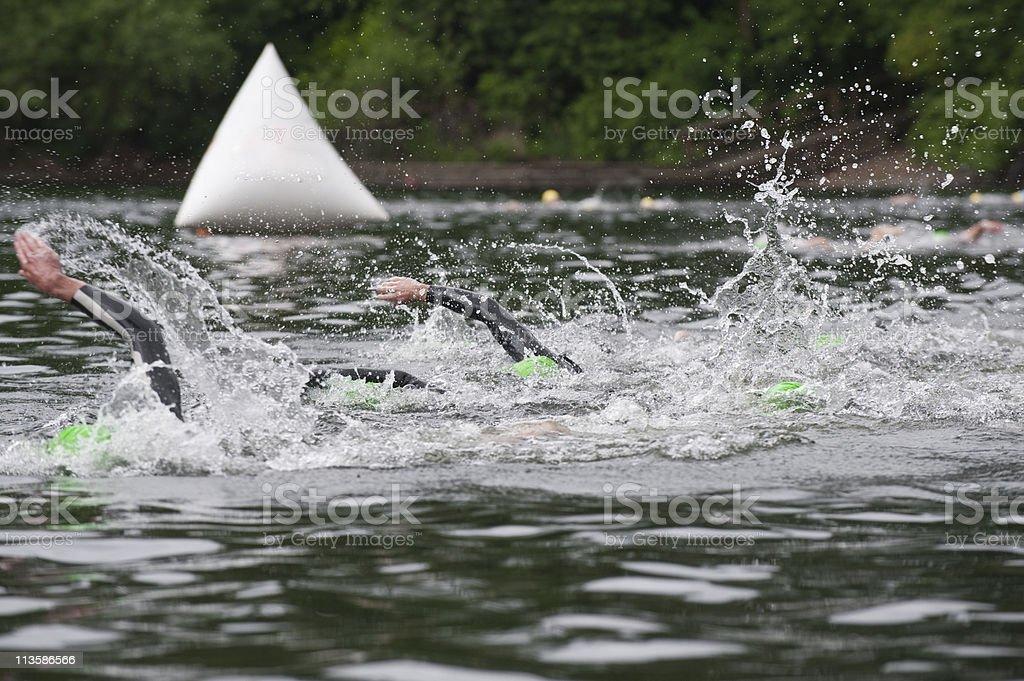 Triathlon Start stock photo