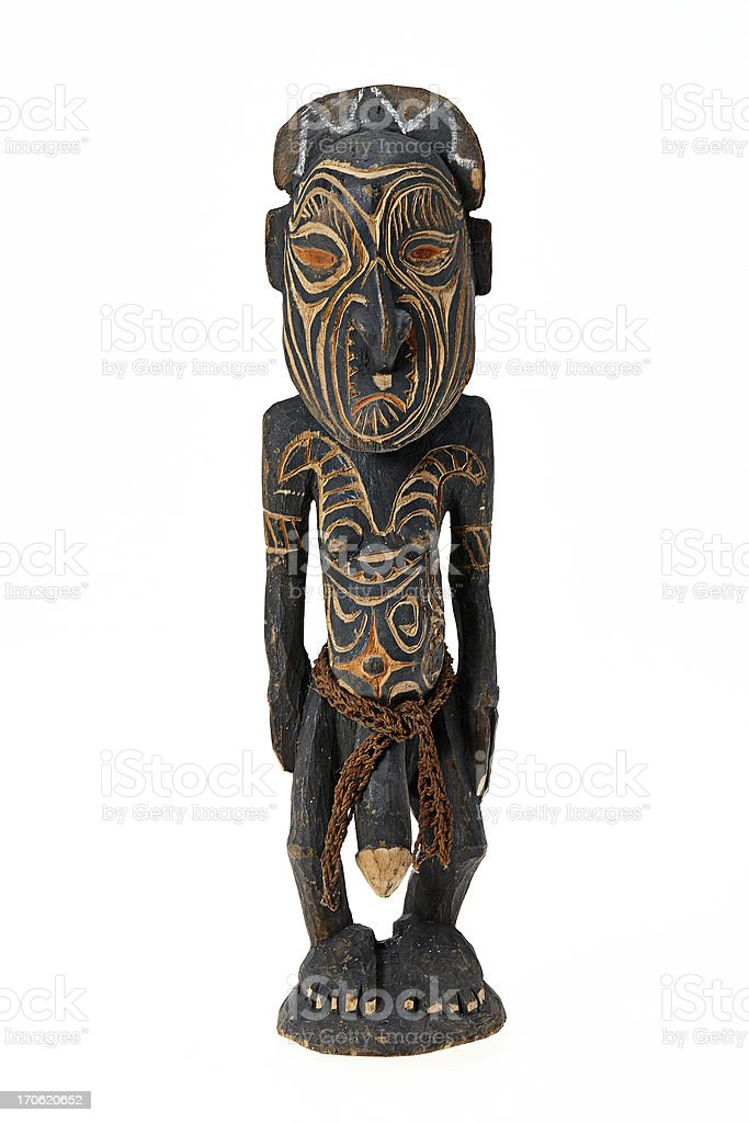 Tribal art figurine from papa new guinea royalty-free stock photo