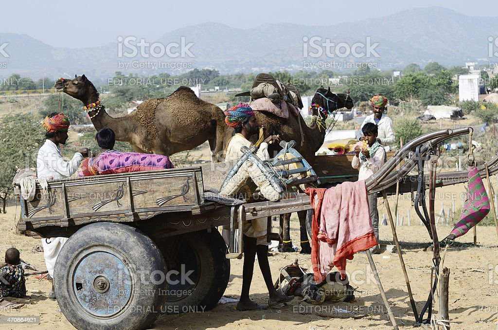 Tribal gypsy people are preparing to traditional cattle fair,India royalty-free stock photo