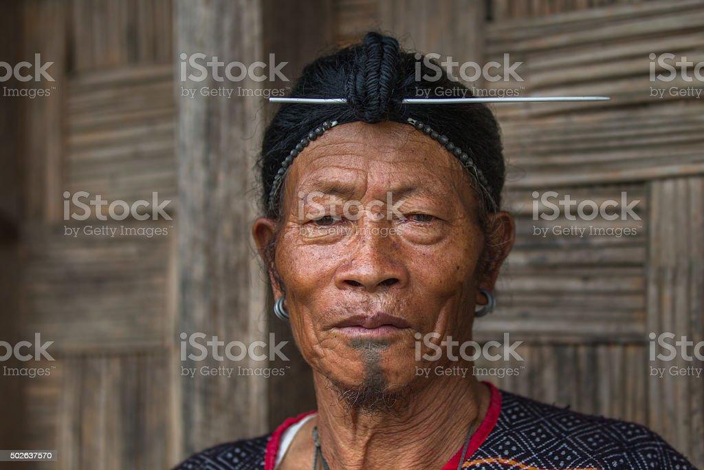Tribal Indian men from Arunachal Pradesh, India. stock photo