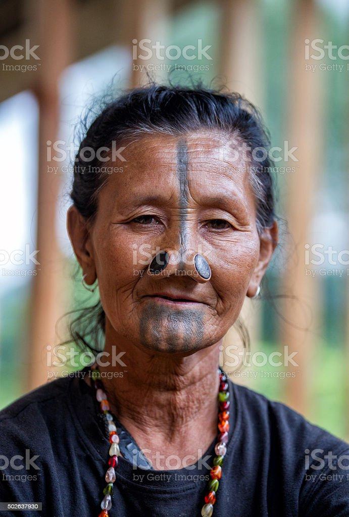 Tribal Indian women from Arunachal Pradesh, India. stock photo