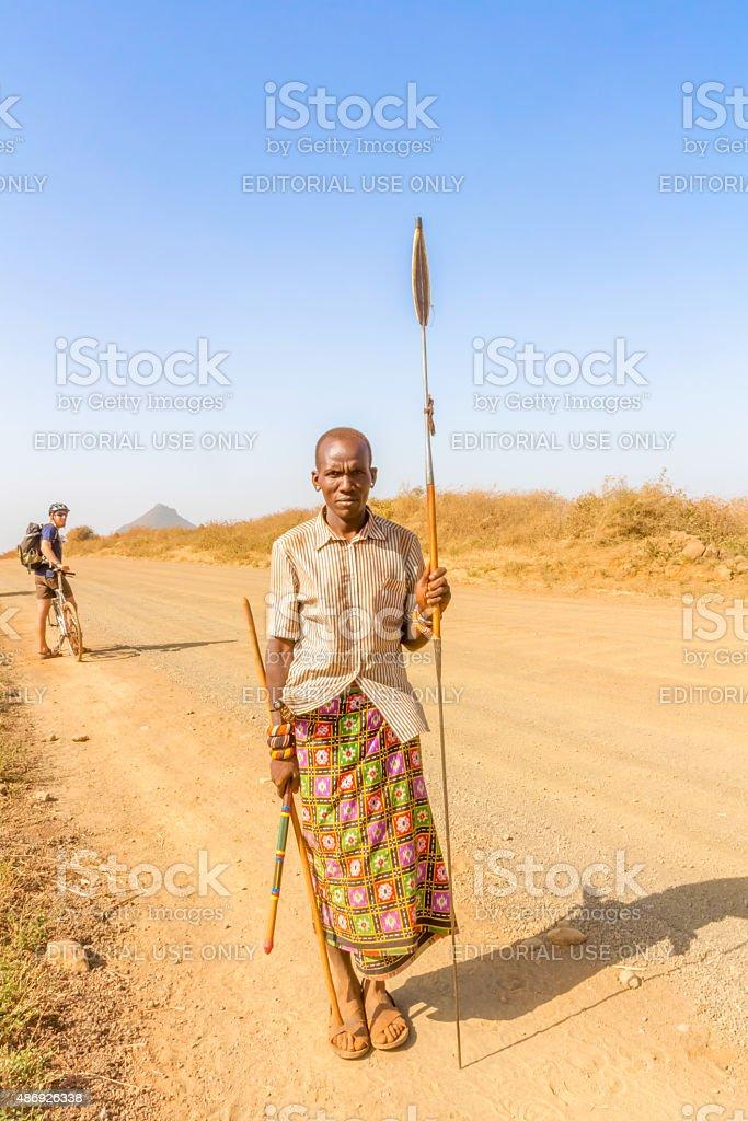 Tribal man in Kenya stock photo