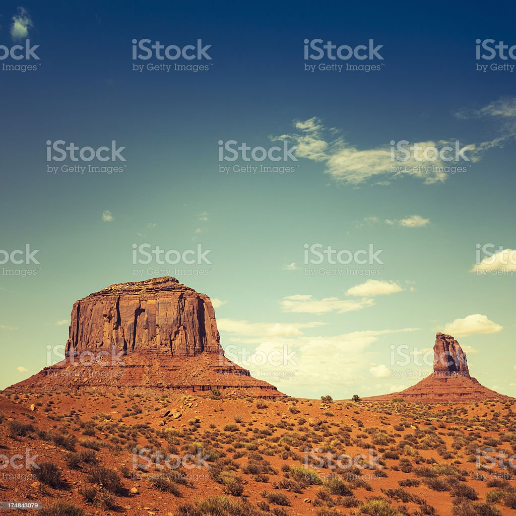 Tribal navajo village on Monument valley National park stock photo
