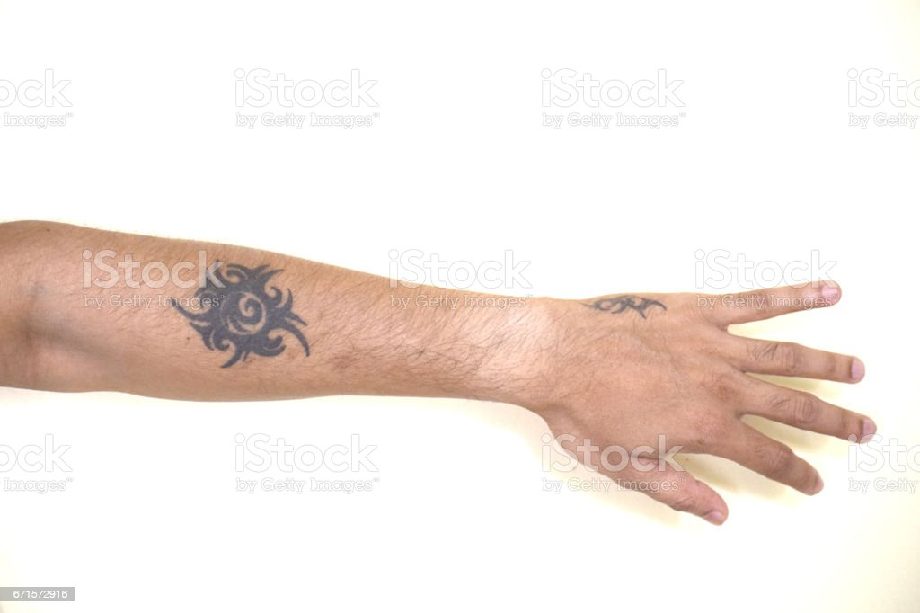 Tribal Tattoo On Arm stock photo