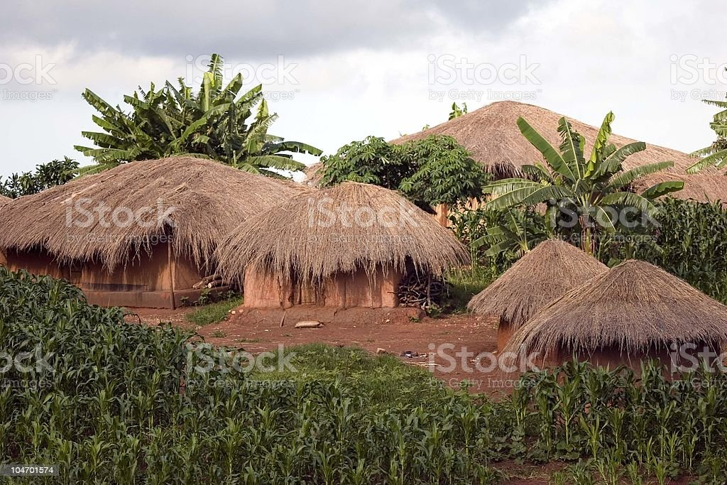 Tribal Village in Malawi stock photo