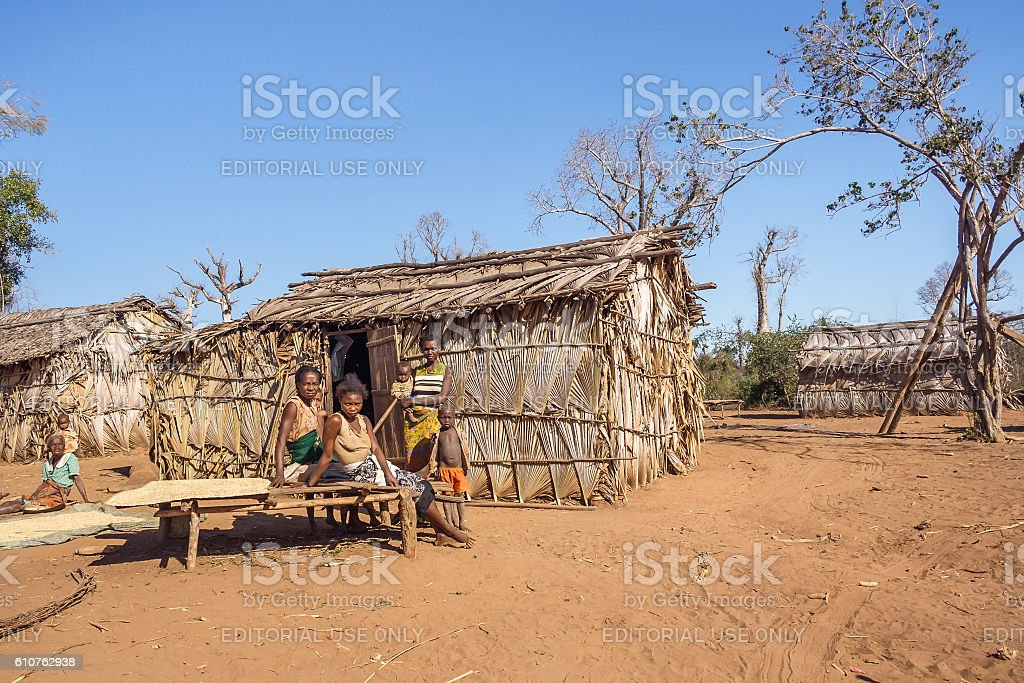 Tribal village stock photo