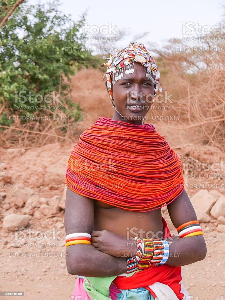 Tribal woman in Kenya stock photo