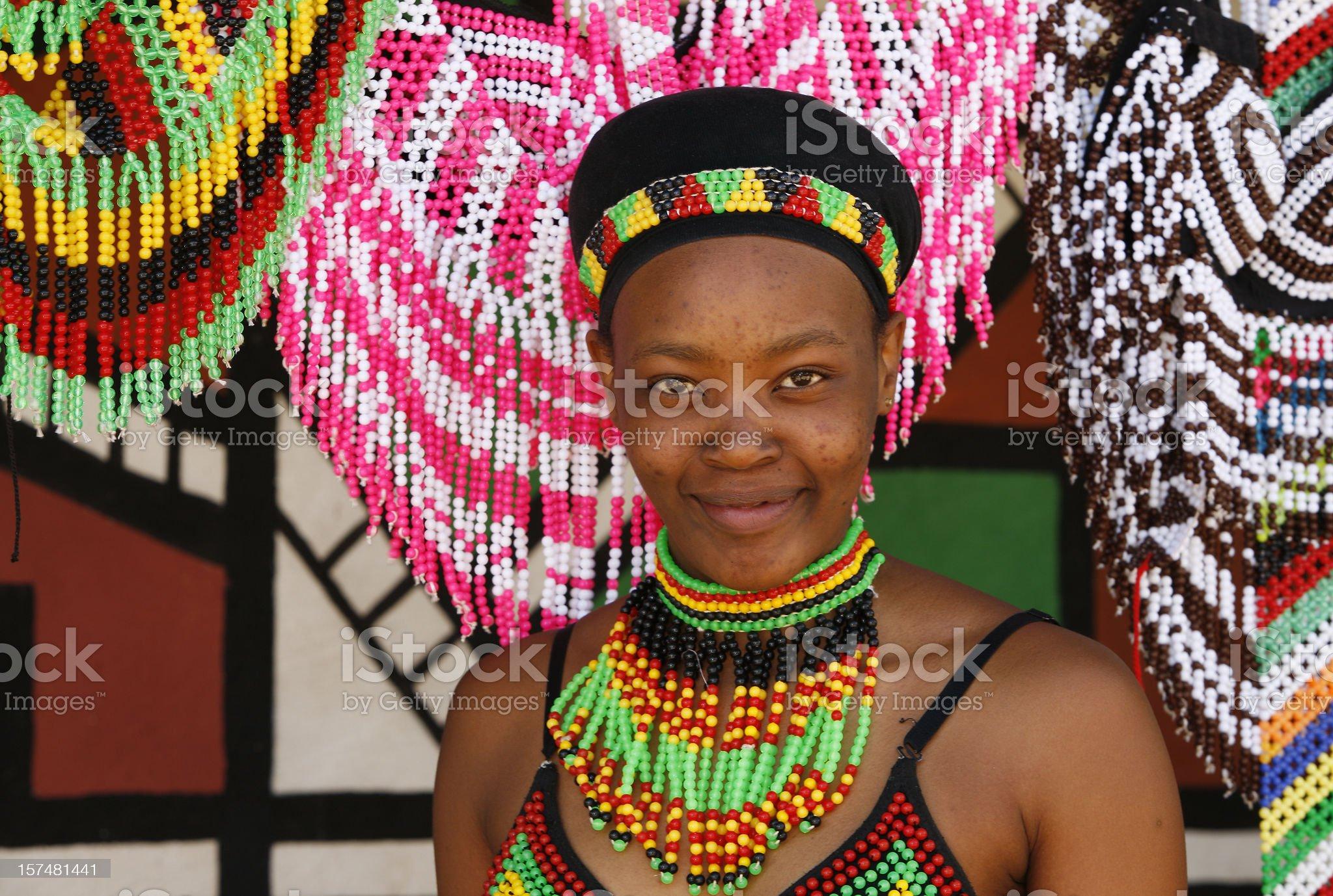 Tribal Zulu woman royalty-free stock photo