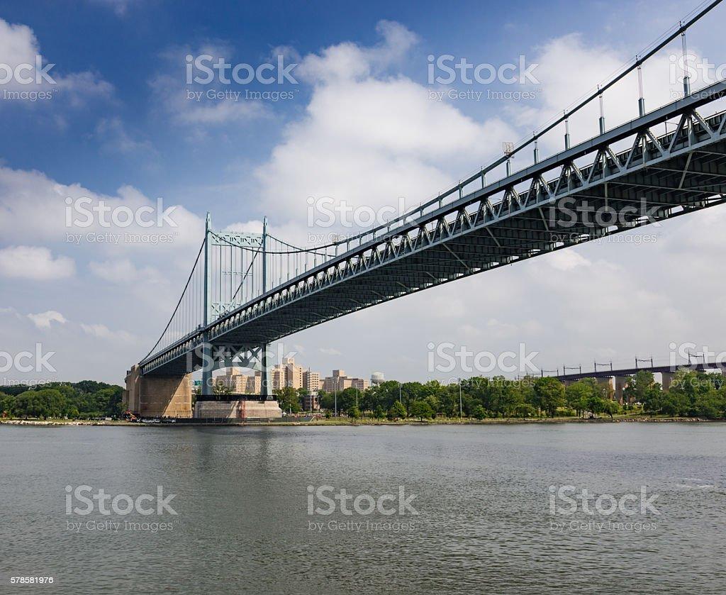 RFK Triborough Bridge and East River, New York City. stock photo