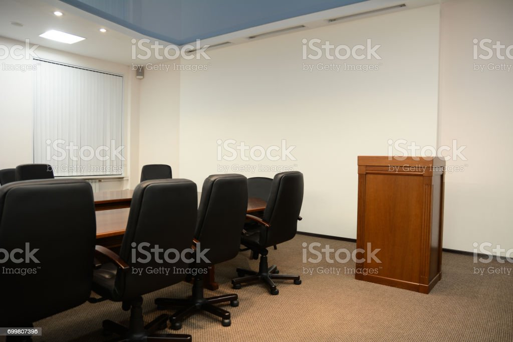 Tribune in conference room stock photo