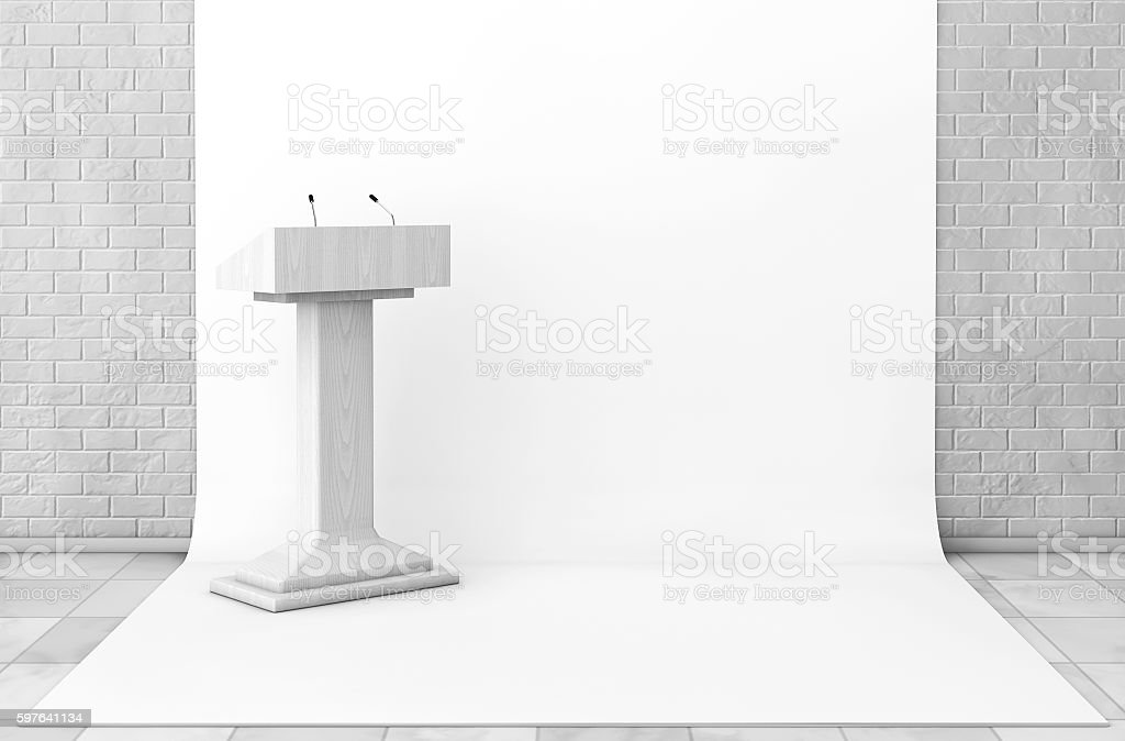 Tribune Rostrum Stand with Microphones in Studio Room. 3d Render stock photo