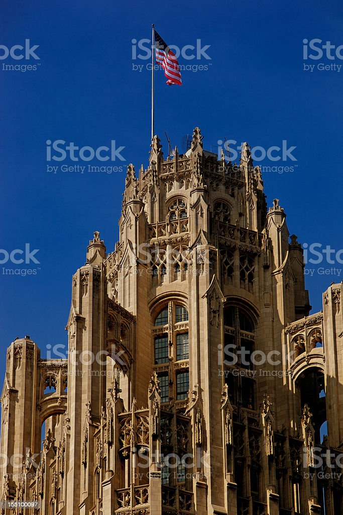 Tribune Tower Close Up 200mm lens, Chicago, Illinois royalty-free stock photo