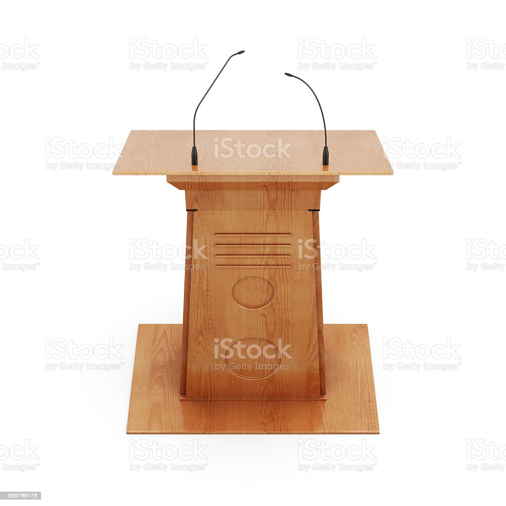 Tribune with microphones isolated on white background. 3d render stock photo