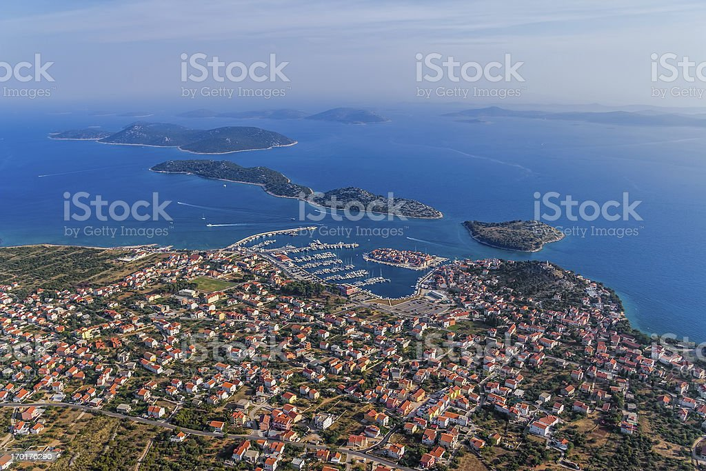 Tribunj aerial royalty-free stock photo