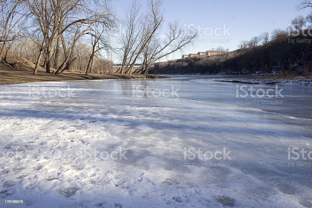 Tributary flowing into the Mississippi River in Minneapolis, Min royalty-free stock photo
