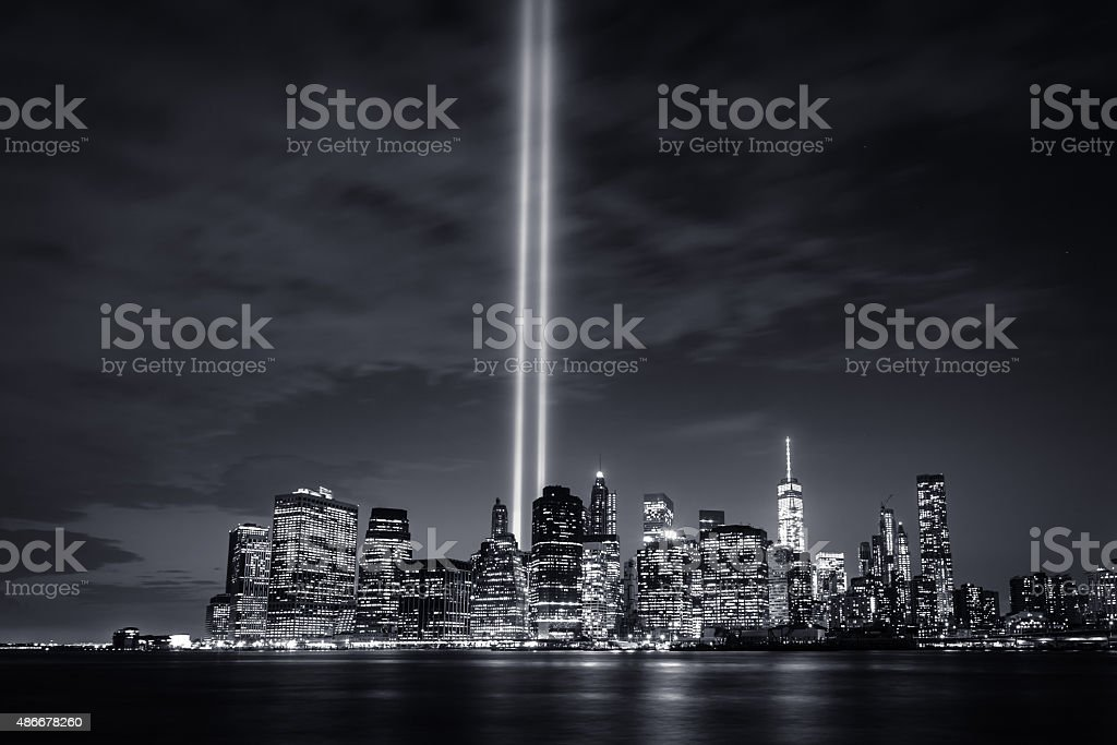 Tribute in Light 2015 (B&W) stock photo