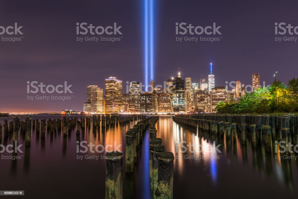 Tribute In Light from Brooklyn sticks stock photo