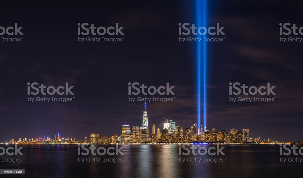 Tribute in Light from Liberty State Park, New Jersey stock photo