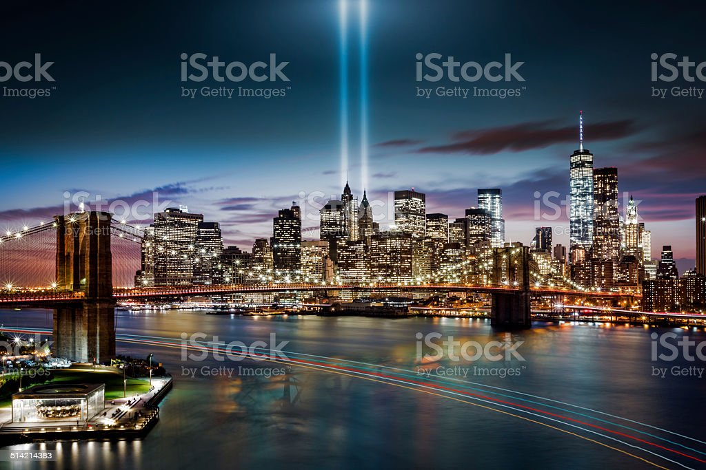 Tribute in Light memorial stock photo