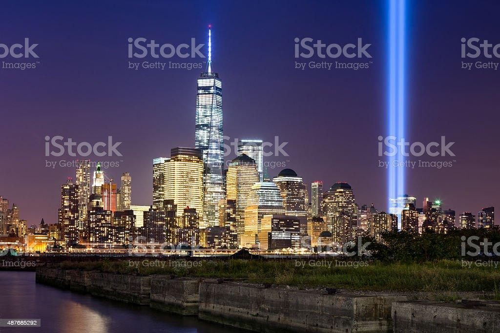 Tribute in Light over Lower Manhattan, New York City stock photo