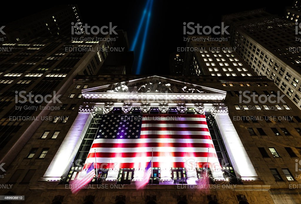Tribute in Light over the New York Stock Exchange stock photo