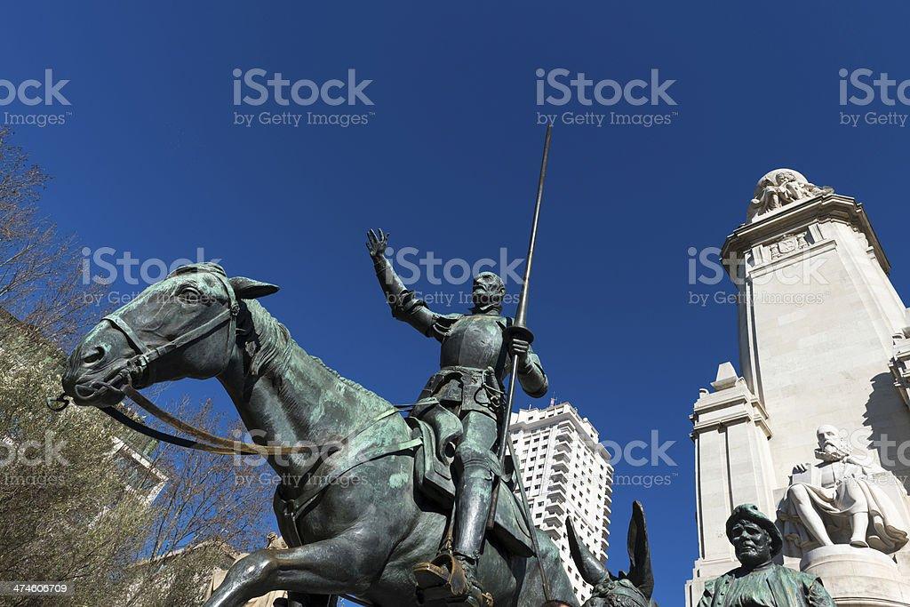 Tribute to Cervantes in the Plaza de España, Madrid stock photo