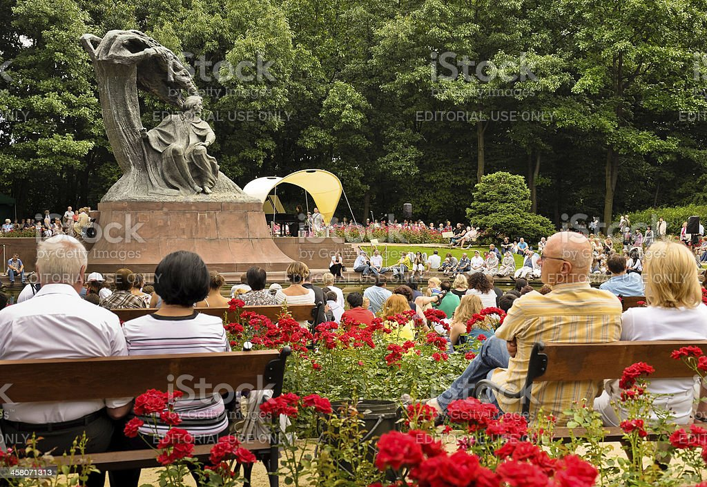 Tribute to Chopin summer open concert, Warsaw stock photo