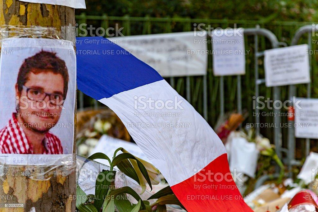 Tribute to terrorism victims in Paris stock photo