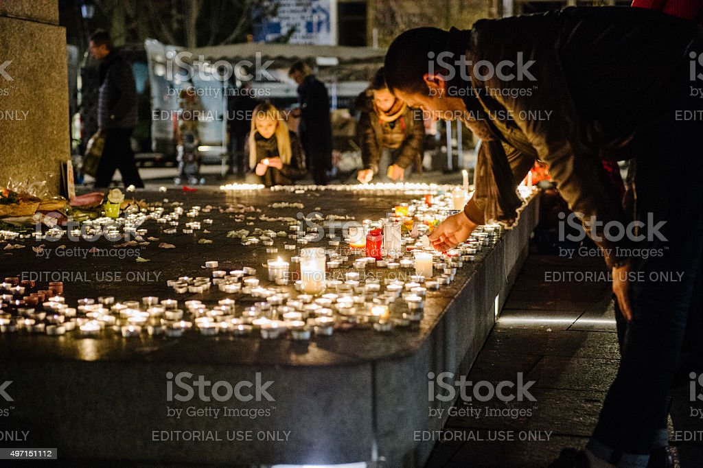 Tributes being laid out after the Paris attacks Paris attacks stock photo