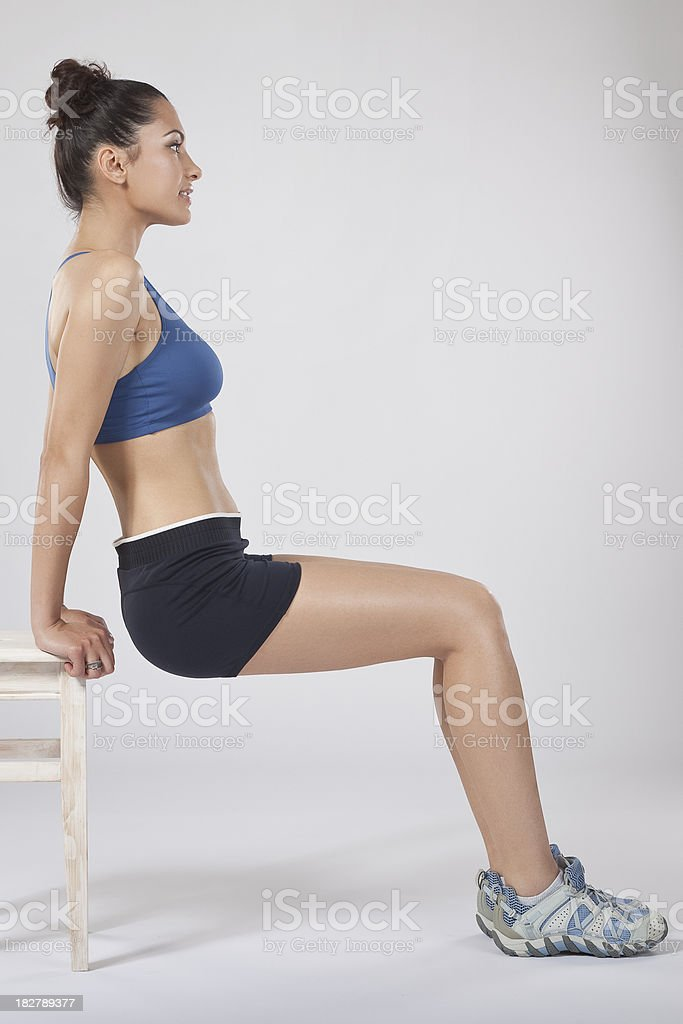 Tricep exercising - phase 1 royalty-free stock photo