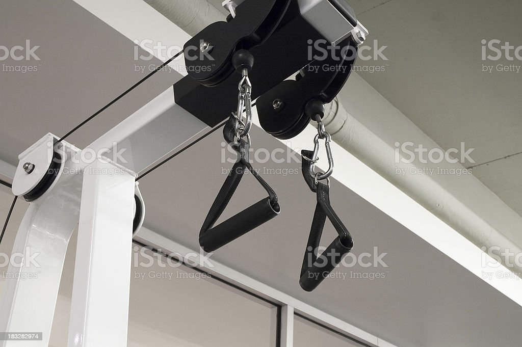 Tricep pull down machine handles royalty-free stock photo