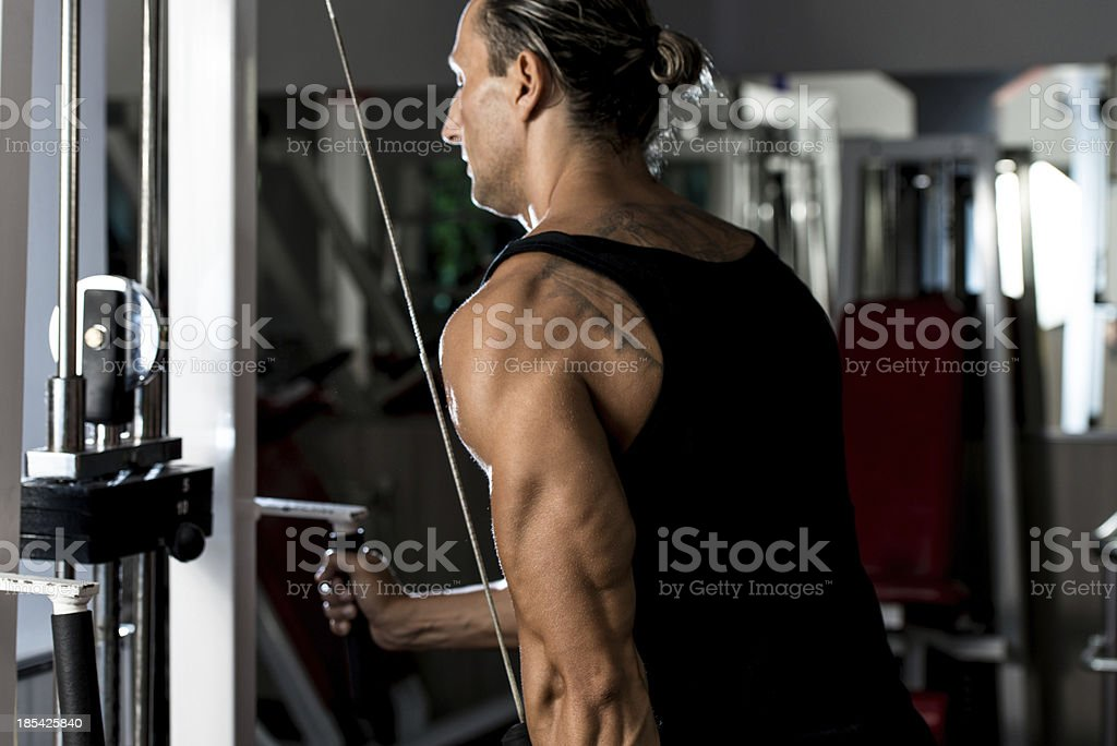 Triceps Pulldown Workout royalty-free stock photo