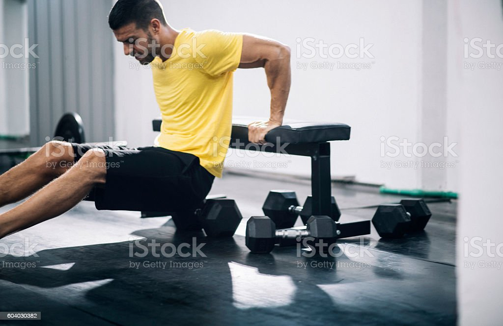 Triceps work out stock photo
