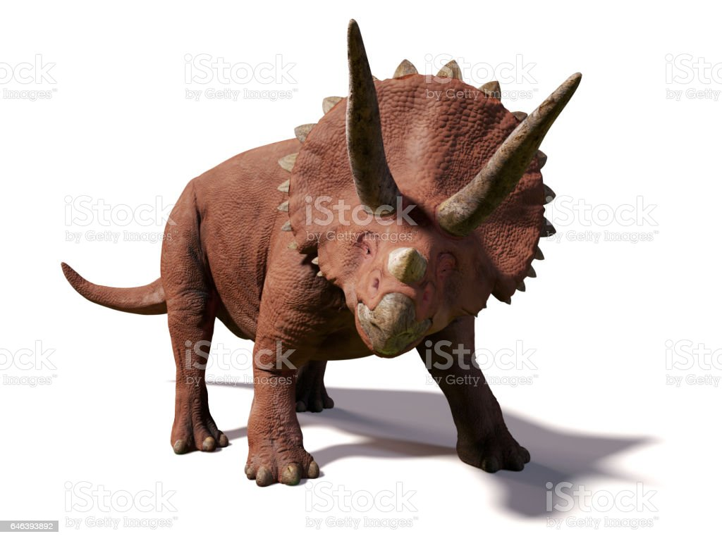 Triceratops horridus,  lived between 66 and 68 million years ago vector art illustration