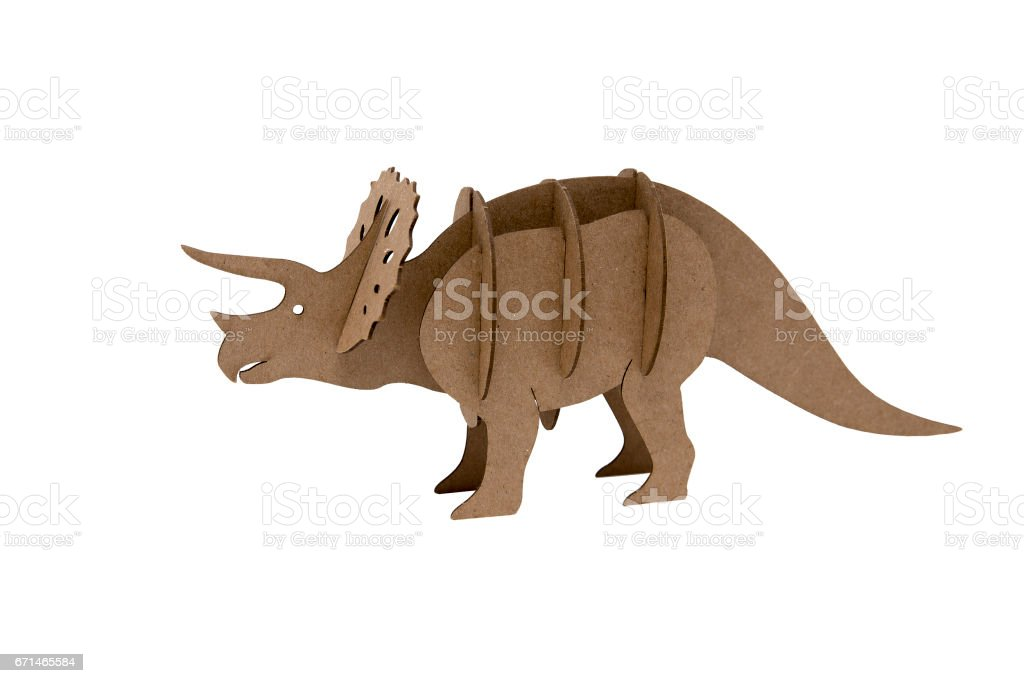 Triceratops made out of cardboard. stock photo