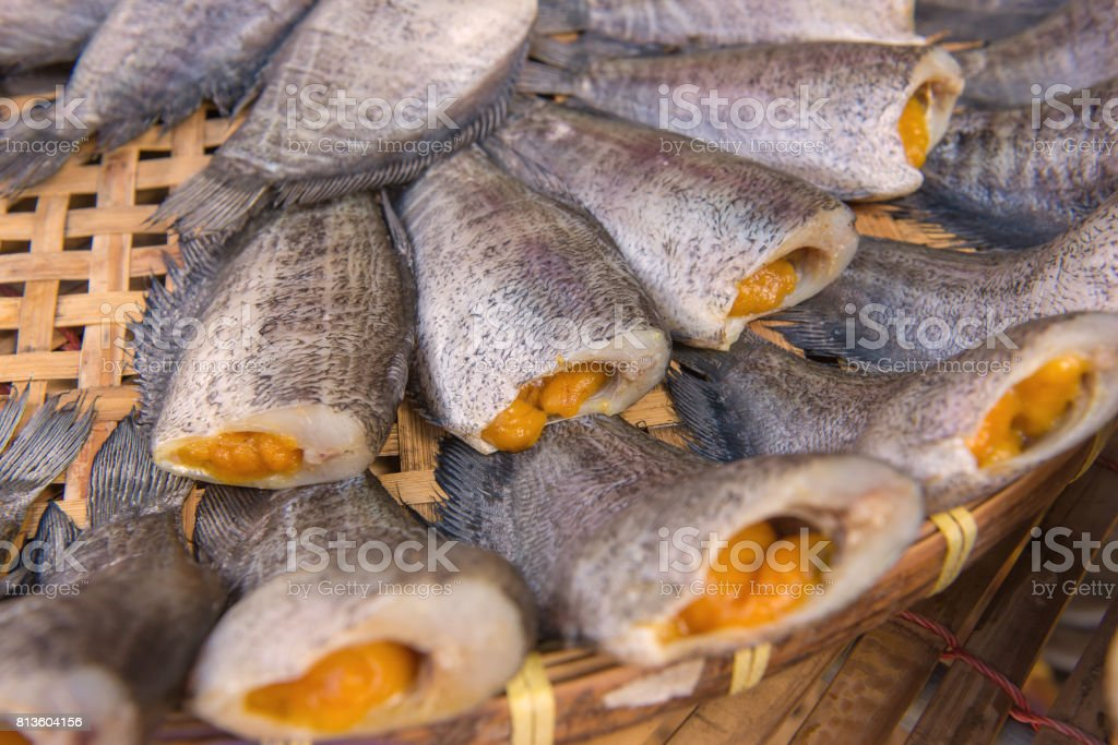 Trichogaster pectoralis, Dry fish out salty for cooking stock photo