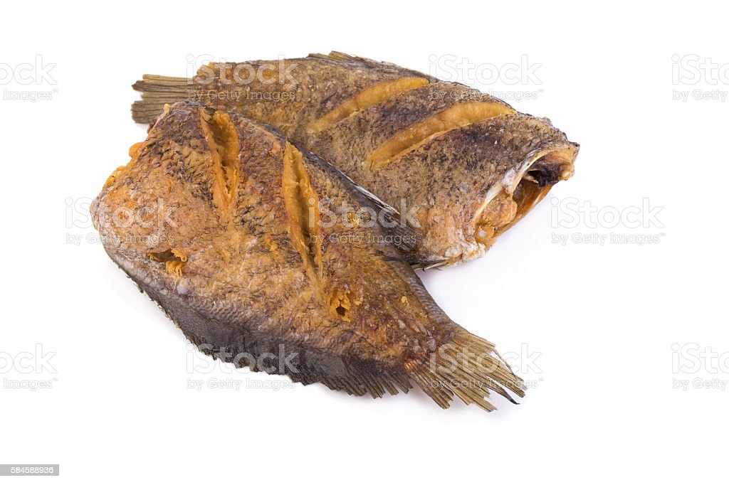Trichogaster pectoralis, fried salid fish thai food on white bac stock photo