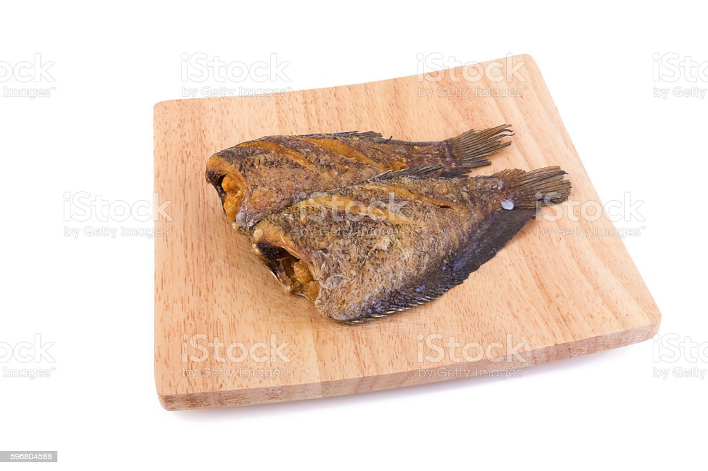 Trichogaster pectoralis, fried salid fish thai food stock photo