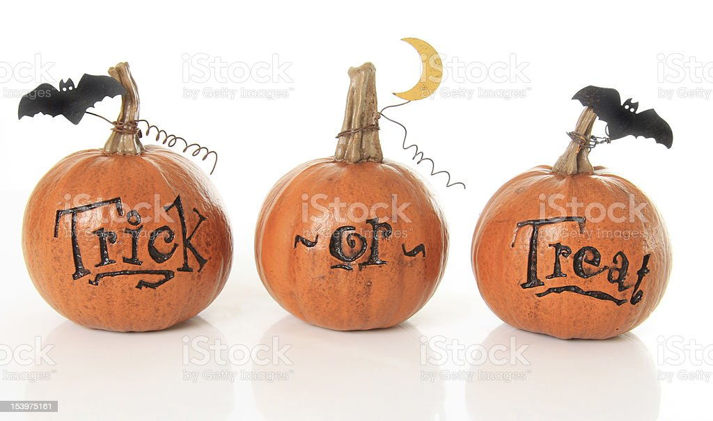 Trick or treat pumpkins stock photo