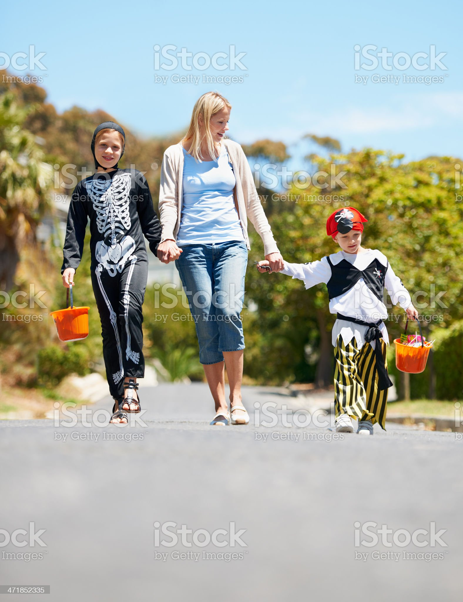 Trick or treating: A great way to bond! royalty-free stock photo