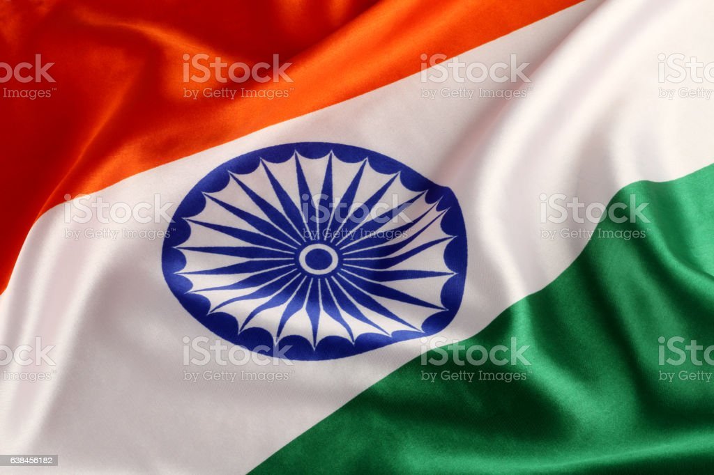 Tricolor Indian National Flag - Closeup stock photo